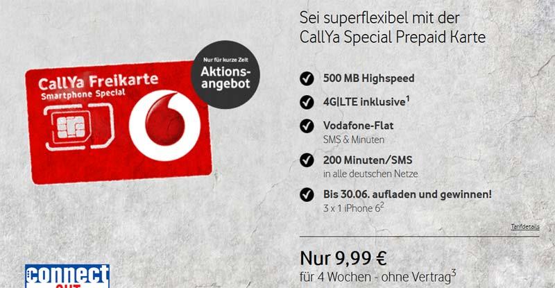 Callya Smartphone Special – Prepaid Smartphone Tarif mit LTE von Vodafone