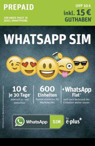 Alles zum WhatsApp SIM Prepaid Tarif von E-Plus – Erfahrungen, Kunden-Meinungen und Details